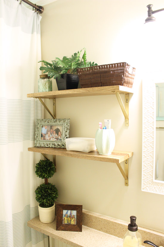 Natural Wood Open Shelves in Bathroom