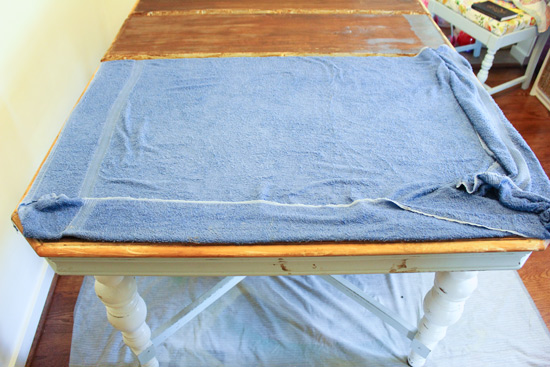 Removing Wood Veneer with Damp Towel