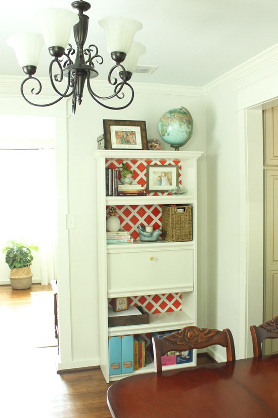 View of Bookcase in Dining Room