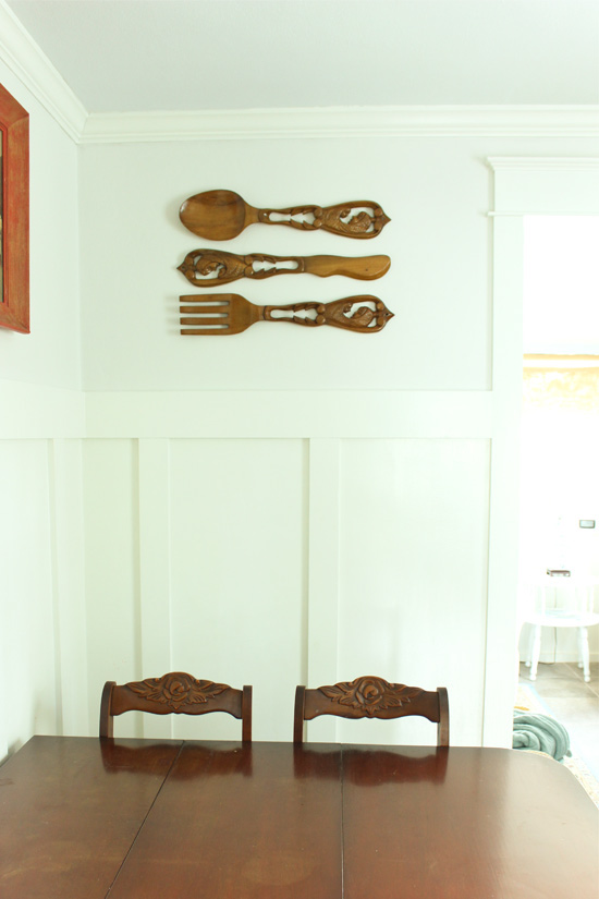 Wooden Decorative Utensils Hanging on Wall in Dining Room