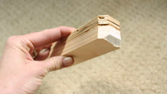 45 Degree Angles Cut on Edges of Wood Blocking