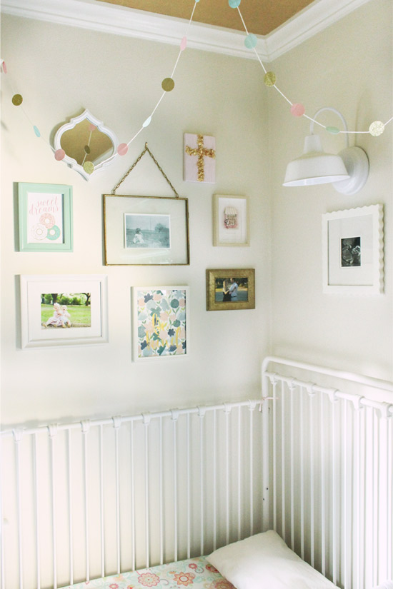 Girly Gallery Wall Above White Iron Toddler Bed