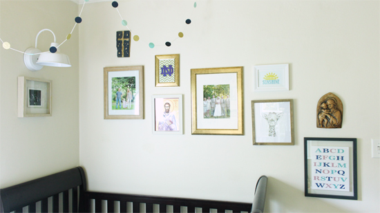 Warm Gold and Blue Gallery Wall for Toddler Boy