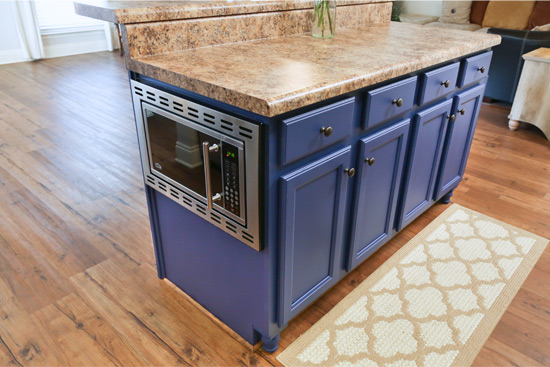 Microwave Installed in Side of Kitchen Island