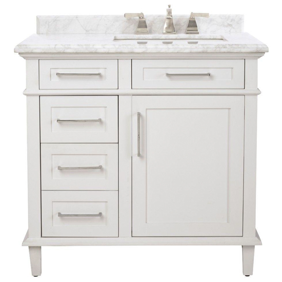 36 Inch White Bath Vanity with Sink on Right