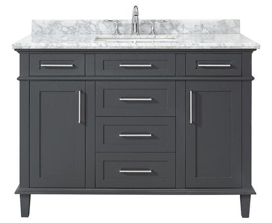 48 Inch Single Bowl Dark Gray Bathroom Vanity