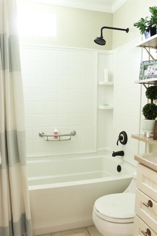 White Shower Bathtub Combo Kit Installed from Sterling