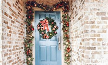 Updated Front Entry Door Decorated for Christmas