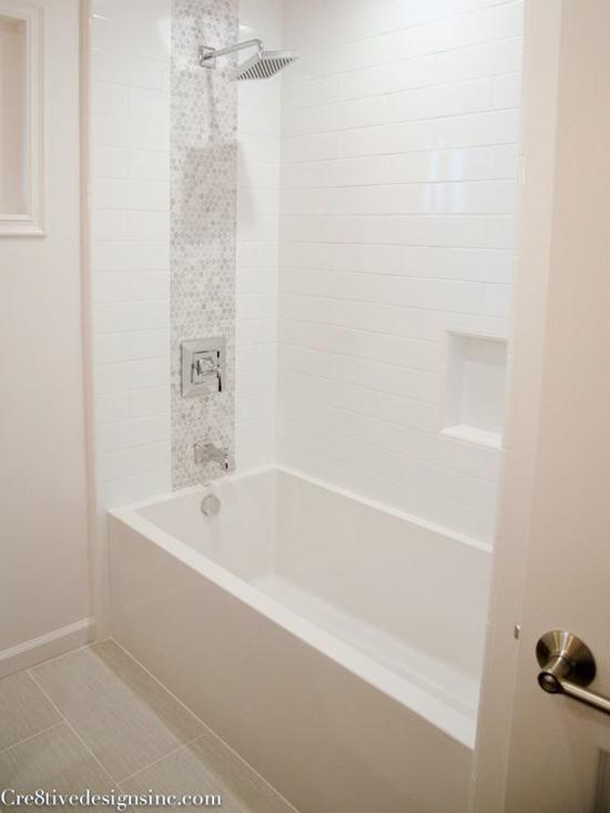 Updated Tub Shower Combo in Hallway Bathroom