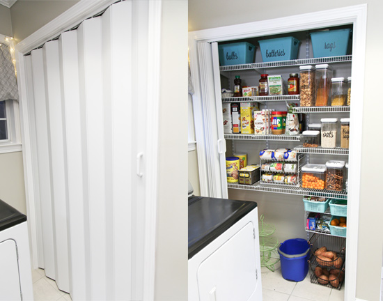 Accordion Door on Small Reach-In Closet in Laundry Room Pantry