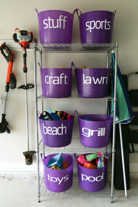Baker's Rack with Bins to Store Small Items in Garage