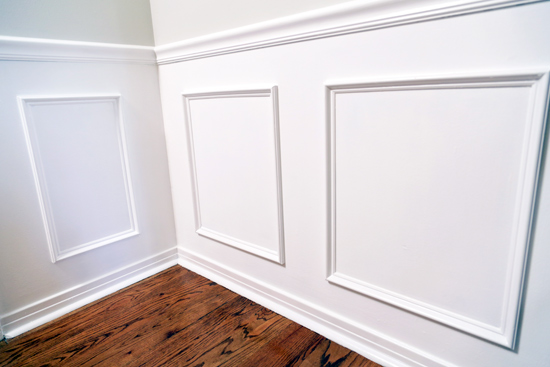 Corner in Dining Room with Faux Wainscoting PVC Panels