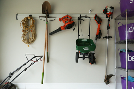 Hanging Track System for Storing Yard Tools
