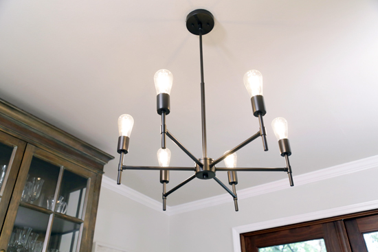Lightweight and Simple Exposed Bulb Chandelier from Linen di Liara Lighting for Dining Room