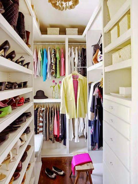 Small Narrow Walk-In Master Closet