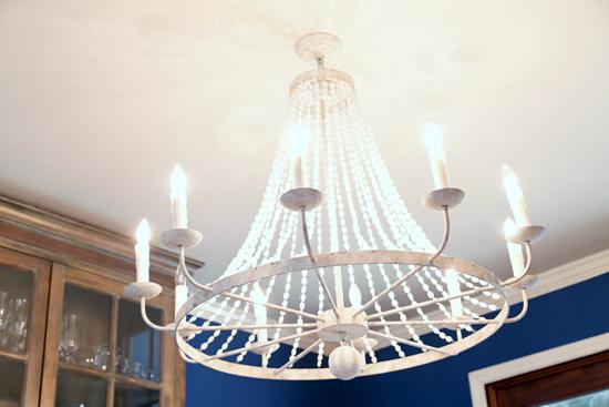 White Beaded Chandelier in Blue Dining Room