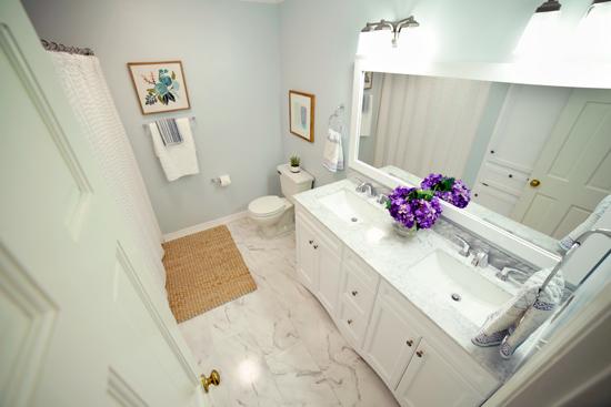White Marble Guest Hallway Bathroom
