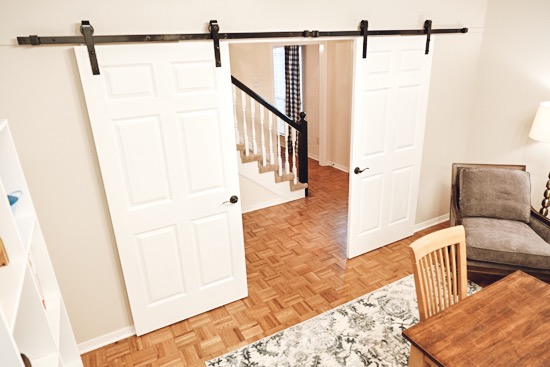 Double Barn Doors to Close Off Old Formal Living Room