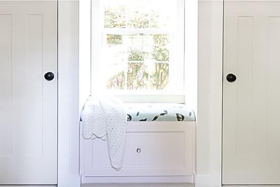 Window Seat Between Double Closets in Girl Nursery