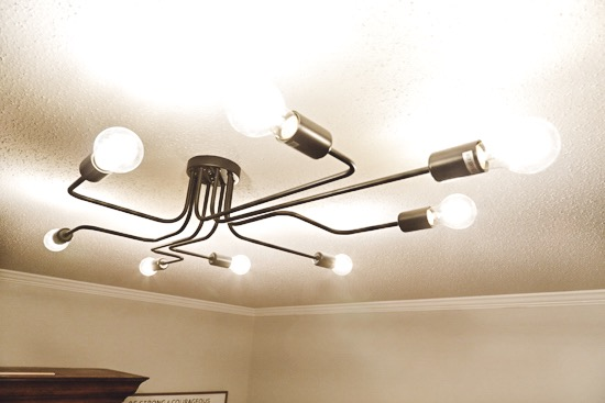 Industrial Light Fixture with 8 Bulbs for Large Room