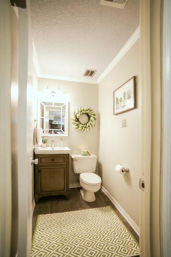 Bathroom Makeover Complete from New Door into Kitchen