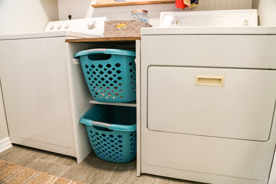 DIY Rack for Laundry Baskets Between Washer and Dryer