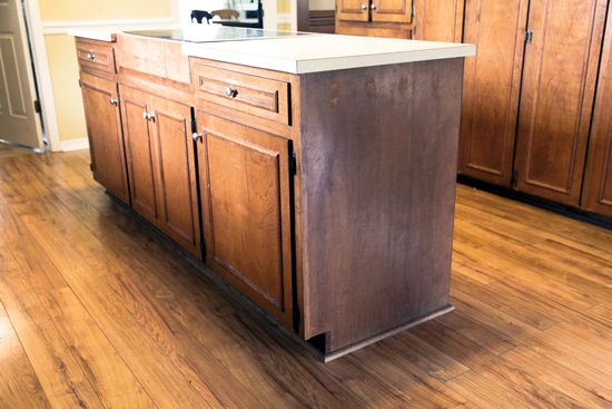 Dark Stained Kitchen Cabinet Island