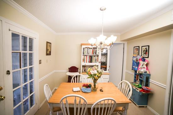 Eat-In Kitchen Area with Laundry Door Before New Bathroom Door