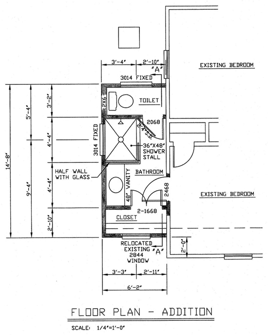 Floor Plan of Small Master Bathroom Addition