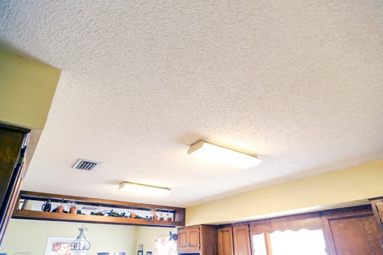 Popcorn Ceiling Fluorescent Light Fixtures Before Kitchen Makeover