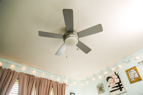 Brushed Nickel Ceiling Fan in Bedroom