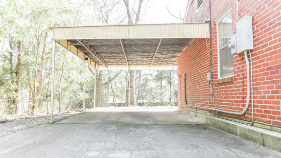 Old Worn Fiberglass Carport Awning