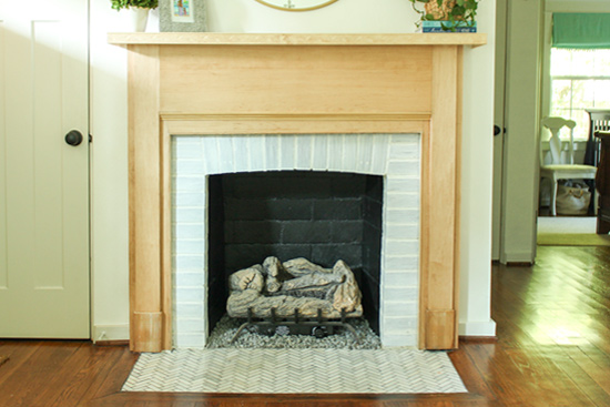 Painted Fireplace Updated with Stained Wood Veneer