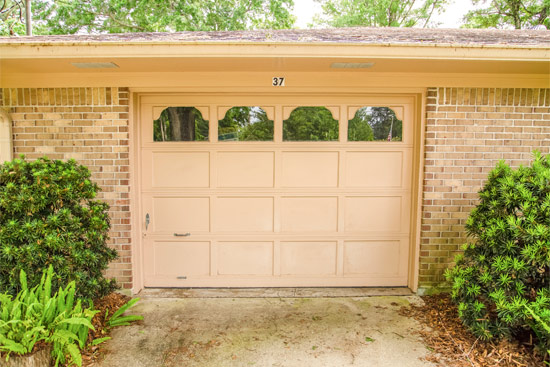 Tan Painted Garage Door Before Makeover