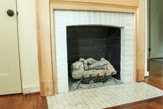 Whitewash Red Brick Fireplace Surround with Paint