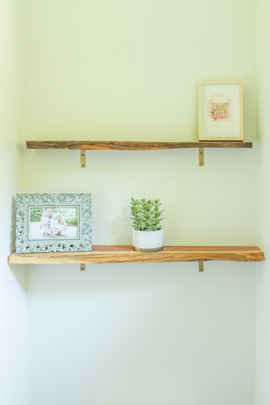 Cedar Live Edge Floating Shelves Above Toilet