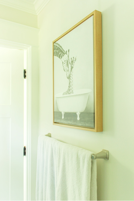 Giraffes in Bathtub TJ Maxx Art Above Brushed Nickel Towel Bar
