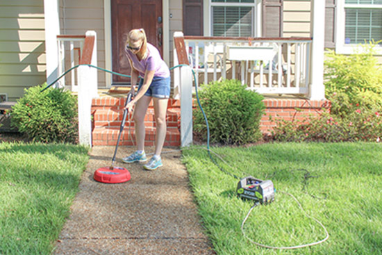 Power Washing Concrete Walkway with Electric Pressure Washer