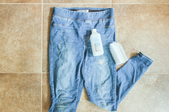 Rubbing Alcohol and Scrub Brush for Paint on Denim