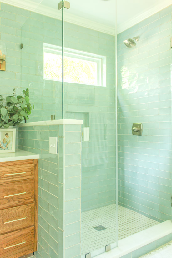 Seafoam Green Blue Subway Tiles in Walk In Shower