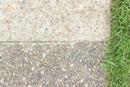 Concrete Sidewalk Before and After Pressure Power Washing