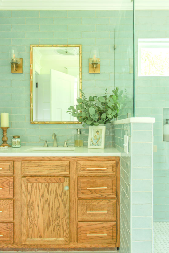 Stained Wood Bathroom Vanity Modern Meets Transitional