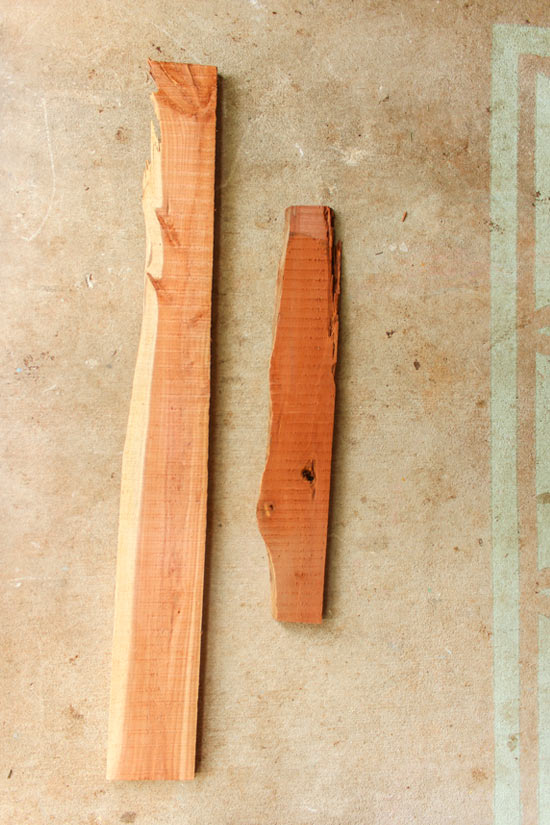 Pieces from Rough Sawn Cedar Used for Shelves