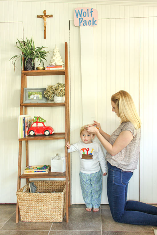 Mommy Measuring Height Toddler Boy