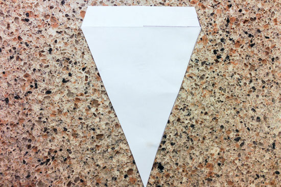 Completed Paper Triangle Template for DIY Bunting Sign