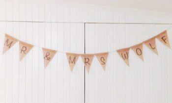 DIY Bunting Made from Burlap Ribbon Roll and Permanent Marker