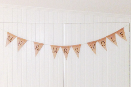 Personal Touch for Wedding with Last Name Mr and Mrs Bunting