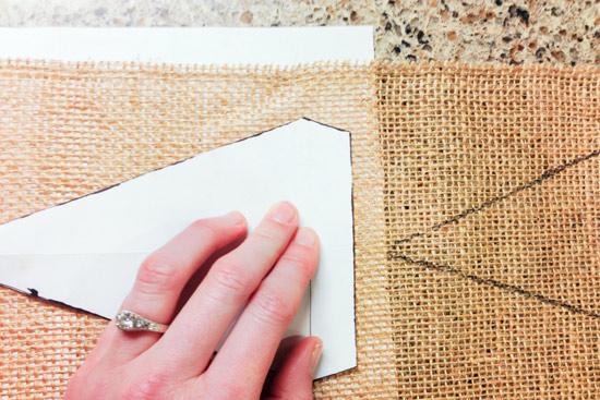 Tracing Paper Template onto Burlap Ribbon