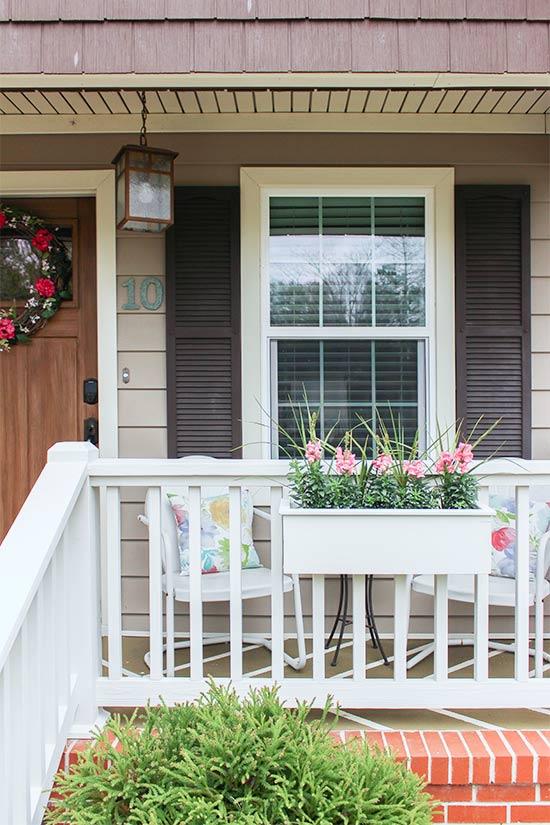 White Planter Box on White Porch Rails