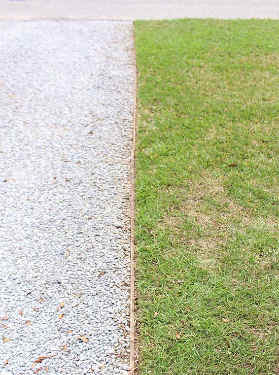 Gravel Driveway Next to Centipede Grass